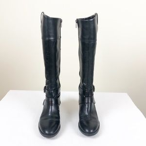 Vince Camuto Pazell Black Leather Side Zip Boots